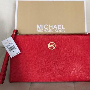 Michael Kors Large Leather Clutch/ Wristlet
